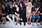01.09.2012. Celebrities attending the David Delfin fashion show during the Mercedes-Benz Fashion Week Madrid Spring/Summer 2013 at Ifema. In the image (L-R) Elena Benaroch,  Alaska, Mario Vaquerizo, Topacio Fresh and Martin Rivas  (Alterphotos/Marta Gonzalez)