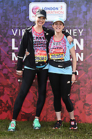 Emma Barton and Natalie Cassidy<br /> at the start of the London Marathon 2019, Greenwich, London<br /> <br /> ©Ash Knotek  D3496  28/04/2019