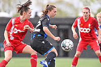 Loredana Humartus (33) of Standard pictured in a duel with Jody Vangheluwe (22) of Club Brugge during a female soccer game between Club Brugge Dames YLA and Standard Femine de Liege on the seventh matchday in Play-Off 1 of the 2020 - 2021 season of Belgian Scooore Womens Super League , saturday 15 May 2021  in Brugge , Belgium . PHOTO SPORTPIX.BE | SPP | DAVID CATRY