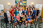 Members of the Kerry and Clanmaurice Camogie teams attending their awards evening in the Ballyroe Heights Hotel on Sunday.<br /> Seated l to r:  Kate Lynch, Special Guest, Sinead Kissane (Sports Presenter Virgin Media), Niamh Leen (Kerry Captain), Liz Houlihan and Aoife Fitzgerald.
