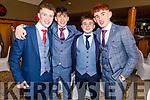 PJ Curtin, Oisin Nolan, Mark Hickey and Cillian Trent.<br />  attending the Gaelcoláiste Chiarraí Debs in the Ballyroe Heights Hotel on Thursday night.