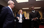 Democratic leaders, from left, Senate Majority Leader Mo Denis, D-Las Vegas, Assembly Speaker Marilyn Kirkpatrick, D-North Las Vegas, and Assembly Majority Leader William Horne, D-Las Vegas, answer media questions following Nevada Gov. Brian Sandoval's State of the State address at the Legislature in Carson City, Nev., on Wednesday, Jan. 16, 2013. (AP Photo/Cathleen Allison)