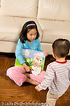 16 month old toddler boy shown picture book by 8 year old sister vertical