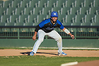Juan Martinez (3) of the Barton Bulldogs takes his lead off of first base against the Queens Royals at Intimidators Stadium on March 19, 2019 in Kannapolis, North Carolina. The Royals defeated the Bulldogs 6-5. (Brian Westerholt/Four Seam Images)