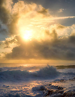 Waves and sunrise. The Puna Coast, Hawaii, The Big Island