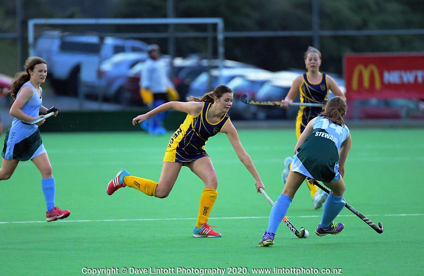 Action from the girls' premier one Wellington Hockey match between Samuel Marsden Collegiate and Wellington East Girls' College at National Hockey Stadium in Wellington, New Zealand on Friday, 7 August 2020. Photo: Dave Lintott / lintottphoto.co.nz
