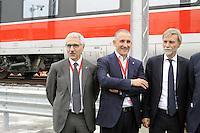 - Treviglio (Brescia), viaggio di prova sulla nuova linea Alta Velocità/Alta Capacità Treviglio-Brescia, parte integrante del Corridoio Europeo TENT-T; Da sin. Maurizio Gentile, Amministratore Delegato di Rete Ferroviaria Italiana (RFI) , Renato Mazzoncini, Amministratore Delegato del gruppo FS Italiane e Graziano Delrio, Ministro delle Infrastrutture e dei Trasporti<br /> <br /> - Treviglio (Brescia), test ride on the new line High Speed / High Capacity Treviglio-Brescia, an integral part of the European Corridor TENT-T; From left. Maurizio Gentile, CEO of Italian Railway Network (RFI), Renato Mazzoncini, CEO of the Italian FS Group and Graziano Delrio, Minister of Infrastructure and Transport
