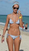 MIAMI BEACH, FL - DECEMBER 07: Lady Victoria Hervey  in a blue bikini on December 7, 2013 in Miami, Florida.<br /> <br /> People:  Lady Victoria Hervey