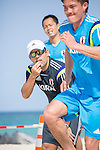 (L-R)   Marcelo Mendes, Shusei Yamauchi, Keisuke Matsuda (JPN),<br /> APRIL 20, 2014 - Beach Soccer :<br /> Beach Soccer Japan national team candidates training camp in Okinawa, Japan. (Photo by Wataru Kohayakawa/AFLO)