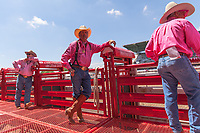 Usa,Wyoming, Cheyenne, chutes ready for the Wrangler milion dollar tour PRCA rodeo  at Frontier days 2017