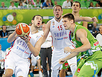 """Vasilije Micic and Vladimir Stimac of Serbia in action during European basketball championship """"Eurobasket 2013"""" classification basketball game from 5th to 8th place between Serbia and Slovenia in Stozice Arena in Ljubljana, Slovenia, on September 19. 2013. (credit: Pedja Milosavljevic  / thepedja@gmail.com / +381641260959)"""