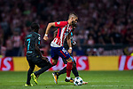 Yannick Ferreira Carrasco of Atletico de Madrid fights for the ball with Chelsea FC players during the UEFA Champions League 2017-18 match between Atletico de Madrid and Chelsea FC at the Wanda Metropolitano on 27 September 2017, in Madrid, Spain. Photo by Diego Gonzalez / Power Sport Images