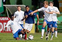 Soccer, UEFA U-17.France Vs. England.Gaetan Laborde, Max Clayton and Samuel Magri in action.Indjija, 03.05.2011..foto: Srdjan Stevanovic