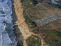 aerial phtograph of the Fort Funston hang glider launch San Francisco at the Pacific coast. San Francisco, California