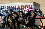 DEL MAR, CA  SEPTEMBER 5: #10 Liam's Dove, ridden by Kyle Frey, holds on to beat #11 Helens Well, ridden by Flavien Prat, in the Del Mar Juvenile Fillies Turf on September 5, 2021 at Del Mar Thoroughbred Club in Del Mar, CA.  (Photo by Casey Phillips/Eclipse Sportswire/CSM)