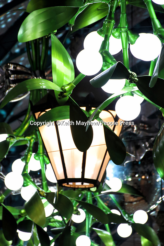 Covent Garden Christmas Decorations and lights are up despite London going into Lockdown on November 5th. Many areas of the immensely popular shopping and hospitality are empty or closed in anticipation of the Lockdown. Wednesday November 4th 2020<br /> <br /> Photo by Keith Mayhew