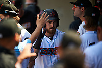 Inland Empire 66ers designated hitter Jared Walsh (21) is congratulated by his teammates after hitting his first home run of the afternoon during a California League game against the Lancaster JetHawks at San Manuel Stadium on May 20, 2018 in San Bernardino, California. Inland Empire defeated Lancaster 12-2. (Zachary Lucy/Four Seam Images)