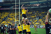 Gareth Evans (Hurricanes) goes up for oineout ball during the Super Rugby match between the Hurricanes and Sharks at Sky Stadium in Wellington, New Zealand on Saturday, 15 February 2020. Photo: Dave Lintott / lintottphoto.co.nz