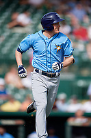 Tampa Bay Rays pinch hitter Michael Russell (82) runs to first base during a Grapefruit League Spring Training game against the Baltimore Orioles on March 1, 2019 at Ed Smith Stadium in Sarasota, Florida.  Rays defeated the Orioles 10-5.  (Mike Janes/Four Seam Images)