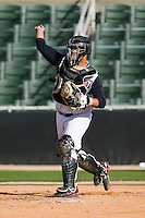 Catcher Danny Jordan (39) of the Kannapolis Intimidators makes a throw to third base following a strike out at Fieldcrest Cannon Stadium in Kannapolis, NC, Sunday, April 20, 2008.