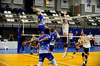 24-03-2021: Volleybal: Amysoft Lycurgus v Sliedrecht Sport: Groningen , Lycurgus speler Dennis Borst legt aan voor een smash