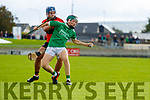 Conor O'Sullivan, Ballyheigue, in action against Kyle O'Connor, Ballyduff, during the Kerry County Minor Hurling Championship Final match between Ballyduff and Ballyheigue at Austin Stack Park in Tralee, Kerry.