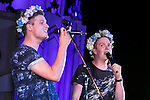 (L to R) Members of the Swedish boy band ''JTR'' Tom Lundback and Robin Lundback perform as a part of the Special Summer Live 2015 events in IKSPIARI shopping mall at Tokyo Disney Resort on August 25, Tokyo, Japan. JTR have been in Japan since August 19th promoting their new album ''Oh My My'' which goes on sale from August 26. (Photo by Rodrigo Reyes Marin/AFLO)