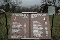 A marble monument with the names of 38 people taken from the small hamlet on the night of 25 July 1992 and killed. Many remain missing.