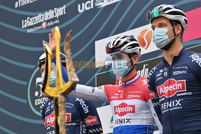 Dutch Champion Mathieu Van Der Poel (NED) Alpecin Fenix at sign on before the start of Stage 2 of Tirreno-Adriatico Eolo 2021, running 202km from Camaiore to Chiusdino, Italy. 11th March 2021. <br /> Photo: LaPresse/Gian Mattia D'Alberto | Cyclefile<br /> <br /> All photos usage must carry mandatory copyright credit (© Cyclefile | LaPresse/Gian Mattia D'Alberto)