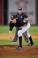 Chattanooga Lookouts relief pitcher Ryne Harper (13) looks in for the sign during a game against the Jackson Generals on May 9, 2018 at AT&T Field in Chattanooga, Tennessee.  Chattanooga defeated Jackson 4-2.  (Mike Janes/Four Seam Images)