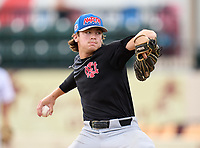 North Florida Christian Eagles pitcher Trevor Hanselman (15) during the 42nd Annual FACA All-Star Baseball Classic on June 6, 2021 at Joker Marchant Stadium in Lakeland, Florida.  (Mike Janes/Four Seam Images)