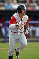Brooklyn Cyclones outfielder Michael Conforto (39) runs to first during a game against the Batavia Muckdogs on August 10, 2014 at Dwyer Stadium in Batavia, New York.  Brooklyn defeated Batavia 5-2.  (Mike Janes/Four Seam Images)