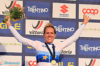 11th September 2021: Trento, Trentino–Alto Adige, Italy: UEC Road European Womens Elite Cycling Championships;  Ellen VAN DIJK (NED) wins the race and celebrates