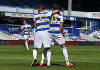 Conor Masterson of Queens Park Rangers and Dominic Ball of Queens Park Rangers celebrates Queens Park Rangers first goal during Queens Park Rangers vs Millwall, Sky Bet EFL Championship Football at Loftus Road Stadium on 18th July 2020