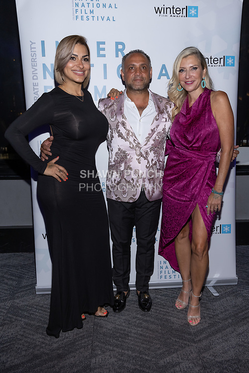 (Left to right) Lulu Lopez, Elie Balleh and Soneca Guadara attend the 10th Annual Winter Film Awards International Film Festival Gala on October 2, 2021 at 230 Fift Avenue in New York City.