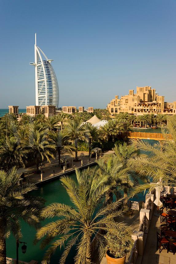Dubai.  Burj al Arab Hotel, Al Qasr Hotel and Mina A'Salam Hotel at the Madinat Jumeirah.  .