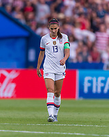 PARIS,  - JUNE 28: Alex Morgan #13 walks upfield during a game between France and USWNT at Parc des Princes on June 28, 2019 in Paris, France.