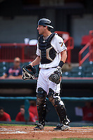 Erie Seawolves catcher Drew Longley (38) during a game against the Harrisburg Senators on August 30, 2015 at Jerry Uht Park in Erie, Pennsylvania.  Harrisburg defeated Erie 4-3.  (Mike Janes/Four Seam Images)