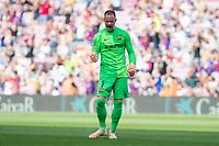26th September 2021; Nou Camp, Barcelona, Spain: La Liga football, FC Barcelona versus Levante: Goalkeeper Ter Stegen Barcelona as his team takes the lead from a penalty by Depay