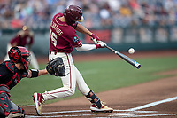 Florida State Seminoles shortstop Mike Salvatore (16) swings the bat during Game 9 of the NCAA College World Series against the Texas Tech Red Raiders on June 19, 2019 at TD Ameritrade Park in Omaha, Nebraska. Texas Tech defeated Florida State State 4-1. (Andrew Woolley/Four Seam Images)