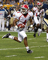 Youngstown wide receiver Andre Stubbs heads to the endzone on a 27-yard touchdown reception in the first quarter. The Youngstown St. Penguins defeated the Pittsburgh Panthers 31-17 on Saturday, September 1, 2012 at Heinz Field in Pittsburgh, PA.