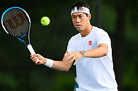 Kei Nishikori (JPN) practices ahead of the 2021 Citi Open