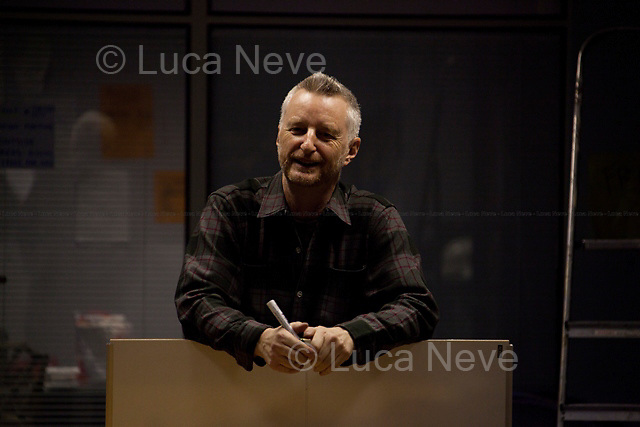 """Billy Bragg, musician and activist - 2011<br /> <br /> London, 23/11/2011. The 18th of November 2011 the Occupy London movement made its third occupation. A disused UBS office building, near Finsbury Square (the second camp), became the """"Bank Of Ideas"""". Today the new occupied space hosted an anti-war art exhibition and a political song writing workshop led by the musician and activist Billy Bragg. At around 19:00, at the St Paul's camp, the Onlyjoe (music band) performed outside the Cathedral."""