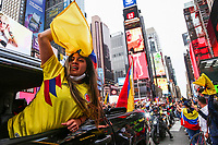 Colombians protest in New York against police brutality during strike in their country