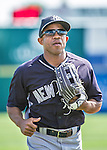 11 March 2014: New York Yankees outfielder Antoan Richardson trots back to the dugout during a Spring Training game against the Washington Nationals at Space Coast Stadium in Viera, Florida. The Nationals defeated the Yankees 3-2 in Grapefruit League play. Mandatory Credit: Ed Wolfstein Photo *** RAW (NEF) Image File Available ***