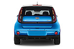 Straight rear view of2015 KIA Soul EV Base 5 Door Wagon Rear View  stock images