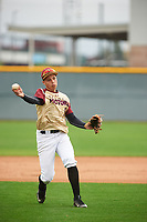 Miguel Lavin (8) of TRINITY CHRISTIAN ACAD High School in Lake Worth, Florida during the Under Armour All-American Pre-Season Tournament presented by Baseball Factory on January 15, 2017 at Sloan Park in Mesa, Arizona.  (Zac Lucy/MJP/Four Seam Images)