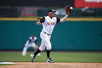 Rochester Red Wings shortstop Wilfredo Tovar (4) during a game against the Toledo Mudhens on June 12, 2016 at Frontier Field in Rochester, New York.  Rochester defeated Toledo 9-7.  (Mike Janes/Four Seam Images)