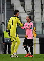 Football Soccer: UEFA Champions League -Group Stage-  Group G - Juventus vs FC Barcellona, Allianz Stadium. Turin, Italy, October 28, 2020.<br /> Barcellona's captain Lionel Messi (r) greets Juventus' goalkeeper Wojciech Szczesny (l) after winning 2-0 the Uefa Champions League football soccer match between Juventus and Barcellona at Allianz Stadium in Turin, October 28, 2020.<br /> UPDATE IMAGES PRESS/Isabella Bonotto