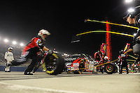 Feb 21, 2009; Fontana, CA, USA; NASCAR Nationwide Series driver Kyle Busch pits during the Stater Brothers 300 at Auto Club Speedway. Mandatory Credit: Mark J. Rebilas-